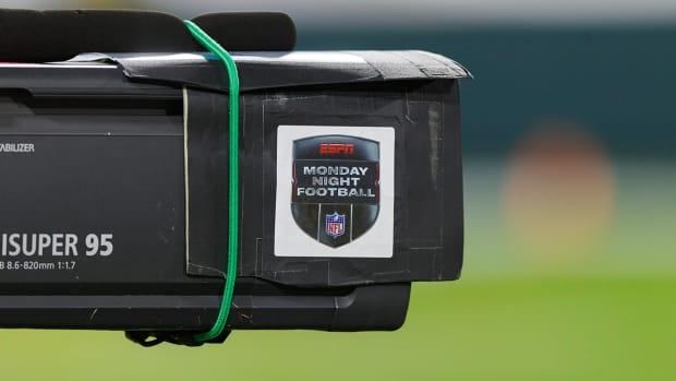 A Monday Night Football logo on a camera.