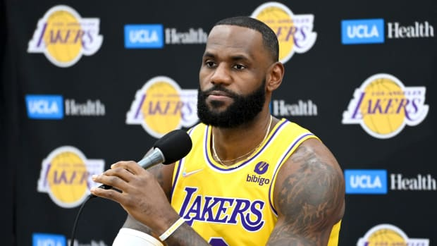 LeBron James at the Lakers media day.