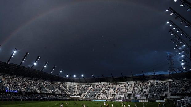 A rainbow over Lynn Family Stadium.
