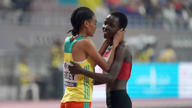 Agnes Tirop (right) and Letesenbet Gidey (left) after the women's 10,000m during the IAAF World Athletics Championships.