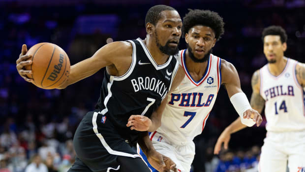 Brooklyn Nets forward Kevin Durant drives the ball against Philadelphia 76ers guard Isaiah Joe