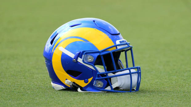 Aug 19, 2021; Thousand Oaks, CA, USA; A detailed view of a Los Angeles Rams helmet during a joint practice against the Las Vegas Raiders.