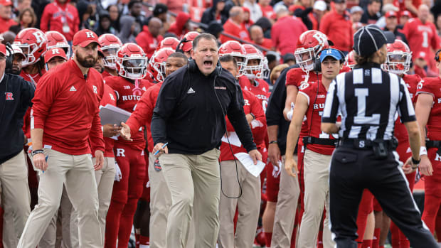 Oct 9, 2021; Piscataway, New Jersey, USA; Rutgers Scarlet Knights head coach Greg Schiano reacts during the first half against the Michigan State Spartans at SHI Stadium. Mandatory Credit: Vincent Carchietta-USA TODAY Sports