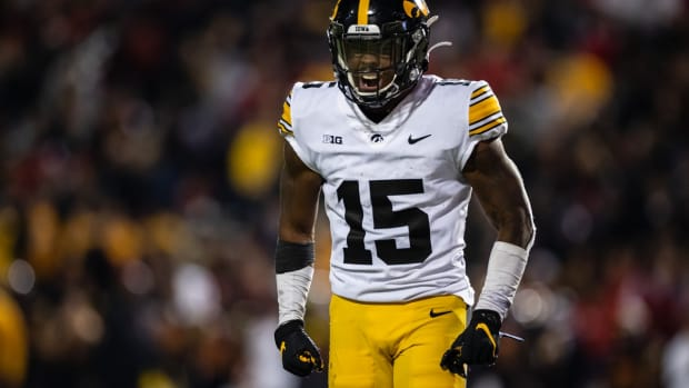 Oct 1, 2021; College Park, Maryland, USA; Iowa Hawkeyes running back Tyler Goodson (15) celebrates after scoring a touchdown against the Maryland Terrapins during the second half at Capital One Field at Maryland Stadium. Mandatory Credit: Scott Taetsch-USA TODAY Sports