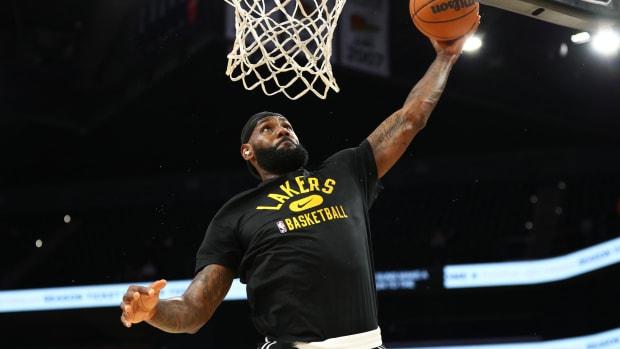 Oct 6, 2021; Phoenix, Arizona, USA; Los Angeles Lakers forward LeBron James prior to the preseason game against the Phoenix Suns at Footprint Center.