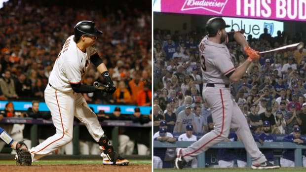 Side by side image of Wilmer Flores and Darin Ruf check swings