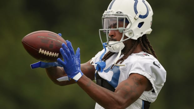 Indianapolis Colts wide receiver T.Y. Hilton (13) receives the ball Tuesday, Aug. 17, 2021, during training camp at Grand Park in Westfield, Ind. Indianapolis Colts Training Camp At Grand Park In Westfield Indiana Tuesday Aug 17 2021