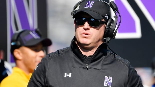 Oct 16, 2021; Evanston, Illinois, USA; Northwestern Wildcats head coach Pat Fitzgerald looks on in the first half against the Rutgers Scarlet Knights at Ryan Field. Mandatory Credit: Quinn Harris-USA TODAY Sports