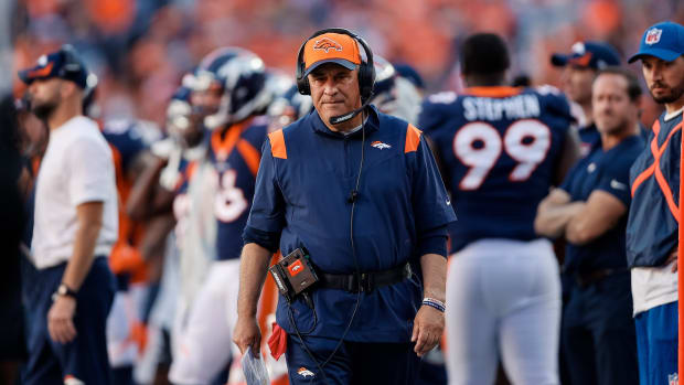 Denver Broncos head coach Vic Fangio in the third quarter against the Las Vegas Raiders at Empower Field at Mile High.