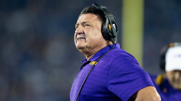 LSU's Ed Orgeron during the Kentucky game.