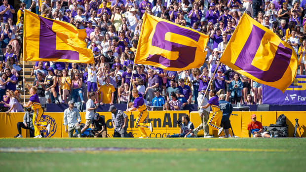 LSU flags fly at the Tigers' game vs. Florida