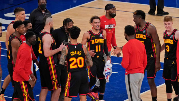 Atlanta Hawks celebrating in 2021 NBA Playoffs. The team hopes to replicate their success in the 2021-22 NBA Season.