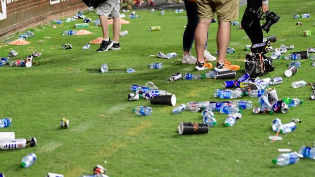 Debris on the field at the end of Ole Miss-Tennessee