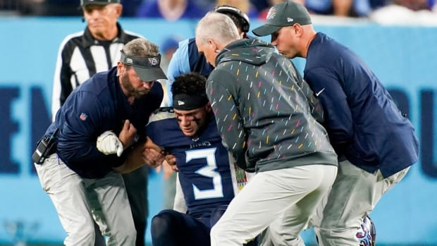 Tennessee Titans cornerback Caleb Farley (3) is helped up after he was injured at Nissan Stadium Monday, Oct. 18, 2021 in Nashville, Tenn.