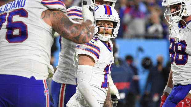 Buffalo Bills wide receiver Cole Beasley (11) reacts after a touchdown reception during the first half against the Tennessee Titans at Nissan Stadium.