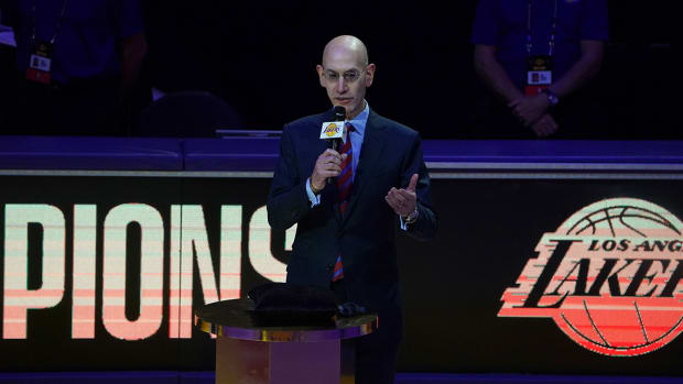 Adam Silver at the Staples Center.
