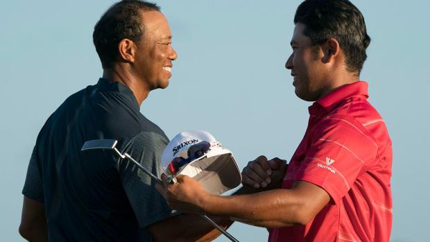 Tiger Woods and Hideki Matsuyama at the 2017 Hero World Challenge.