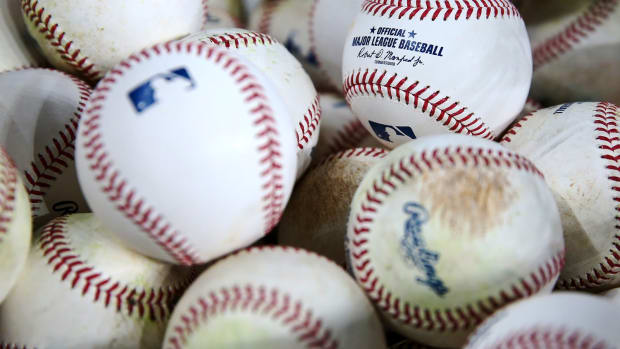 Oct 15, 2021; Houston, Texas, USA; General view of batting practice baseballs before game one of the 2021 ALCS between the Houston Astros and the Boston Red Sox at Minute Maid Park. Mandatory Credit: Troy Taormina-USA TODAY Sports