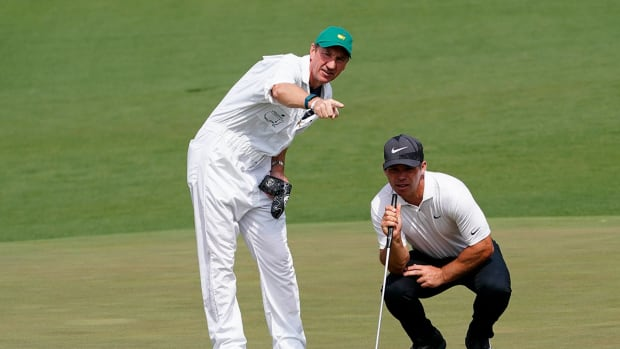 John McLaren helps Paul Casey get a read during the 2021 Masters.