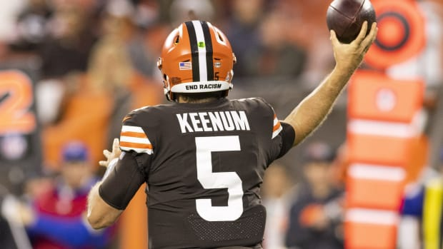 Oct 17, 2021; Cleveland, Ohio, USA; Cleveland Browns quarterback Case Keenum (5) throws the ball against the Arizona Cardinals during the fourth quarter at FirstEnergy Stadium. Mandatory Credit: Scott Galvin-USA TODAY Sports