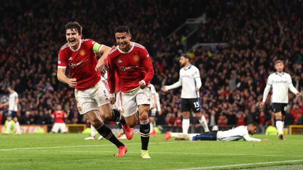 Cristiano Ronaldo celebrates a goal for United.
