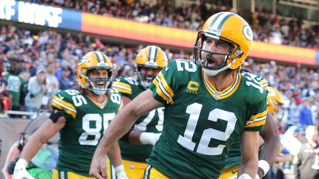 Aaron Rodgers after scoring a touchdown with the Packers.
