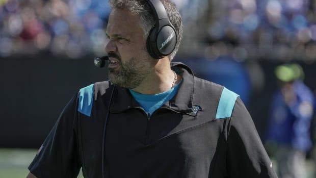 Oct 17, 2021; Charlotte, North Carolina, USA; Carolina Panthers head coach Matt Rhule during the second quarter against the Minnesota Vikings at Bank of America Stadium.