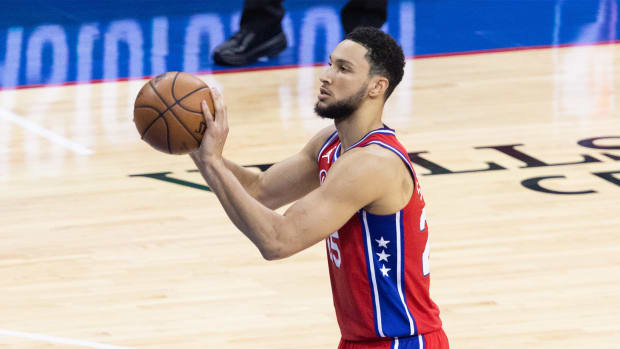 Jun 6, 2021; Philadelphia, Pennsylvania, USA; Philadelphia 76ers guard Ben Simmons (25) shoots a foul shot against the Atlanta Hawks during the second quarter of game one in the second round of the 2021 NBA Playoffs at Wells Fargo Center.