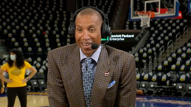 Reggie Miller reacts after finding out he made the NBA's 75th anniversary team