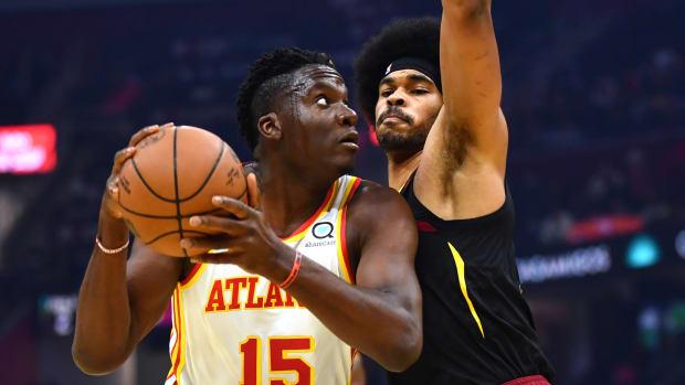 Cleveland Cavaliers center Jarrett Allen (31) defends Atlanta Hawks center Clint Capela (15) during the first quarter at Rocket Mortgage FieldHouse.