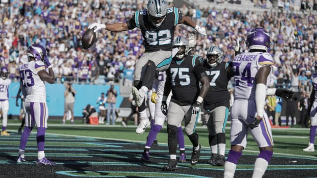 Oct 17, 2021; Charlotte, North Carolina, USA; Carolina Panthers tight end Tommy Tremble (82) celebrates his touchdown late in the fourth quarter during the second half at Bank of America Stadium.