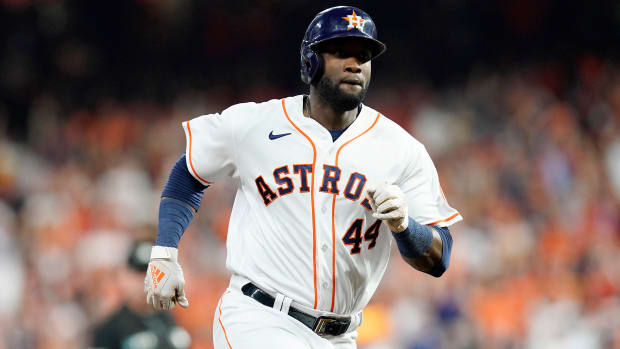 Oct 22, 2021; Houston, Texas, USA; Houston Astros designated hitter Yordan Alvarez (44) rounds the bases after hitting a triple in the sixth inning against the Boston Red Sox during game six of the 2021 ALCS at Minute Maid Park.