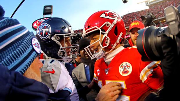 Jan 19, 2020; Kansas City, Missouri, USA; Kansas City Chiefs quarterback Patrick Mahomes (15) greets Tennessee Titans quarterback Ryan Tannehill (17) after the AFC Championship Game at Arrowhead Stadium. Mandatory Credit: Jay Biggerstaff-USA TODAY Sports