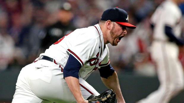 Tyler Matzek celebrates with the Braves.