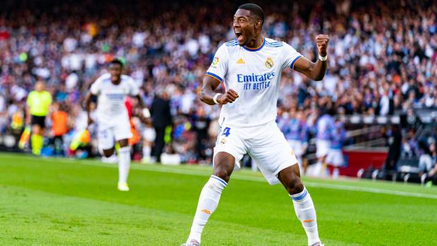 David Alaba celebrates a goal.