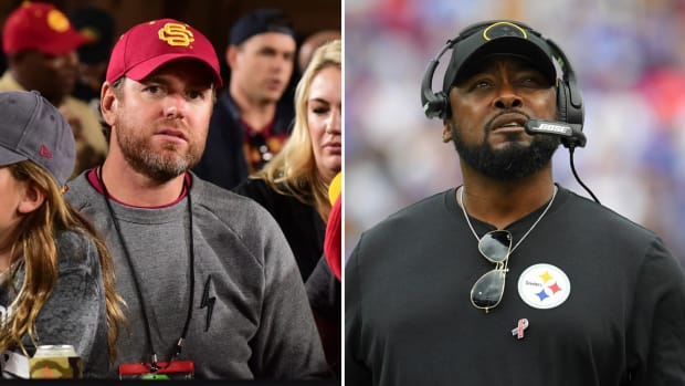 Split image of Carson Palmer and Mike Tomlin