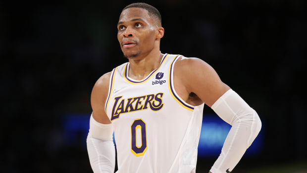 Los Angeles Lakers guard Russell Westbrook on the court during the game against the Memphis Grizzlies at Staples Center.