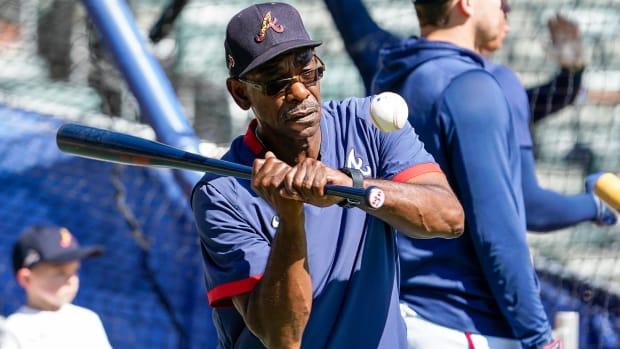 Oct 15, 2021; Atlanta, GA, USA; Atlanta Braves third base coach Ron Washington (37) shown during the team workout for the NLCS at Truist Park.