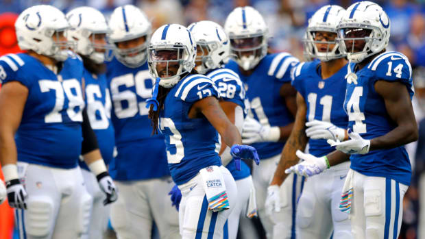 Indianapolis Colts wide receiver T.Y. Hilton (13) moves into the huddle Sunday, Oct. 17, 2021, during a game against the Houston Texans at Lucas Oil Stadium in Indianapolis.