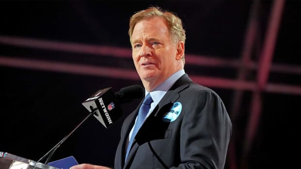 Apr 29, 2021; Cleveland, Ohio, USA; NFL commissioner Roger Goodell announces the final pick of the 2021 NFL Draft for the Tampa Bay Buccaneers at First Energy Stadium.
