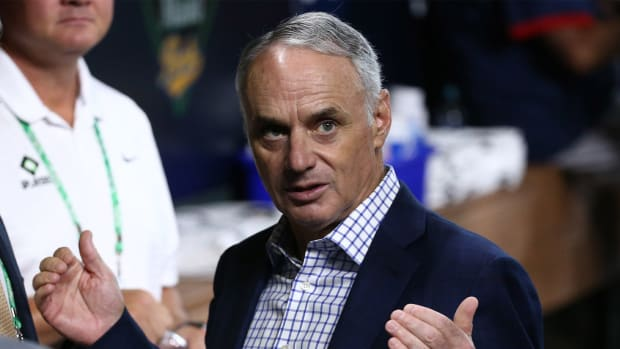 Oct 26, 2021; Houston, TX, USA; MLB commissioner Rob Manfred before game one of the 2021 World Series between the Houston Astros and Atlanta Braves at Minute Maid Park.