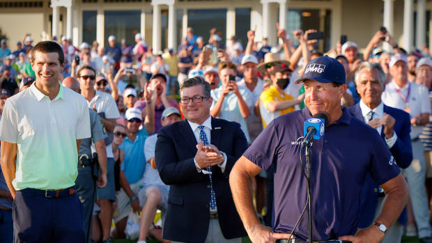 Phil Mickelson, behind a CBS microphone after winning the 2021 PGA Championship.