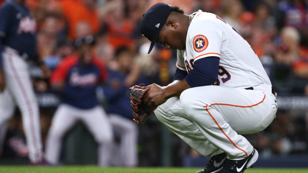 Houston Astros starting pitcher Framber Valdez (59) reacts during the second inning against the Atlanta Braves in game one of the 2021 World Series at Minute Maid Park.