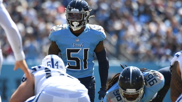 Tennessee Titans linebacker David Long (51) waits for the snap during the first half against the Indianapolis Colts at Nissan Stadium.