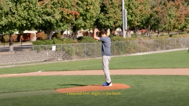 Screenshot from video of Klay Thompson on a baseball field