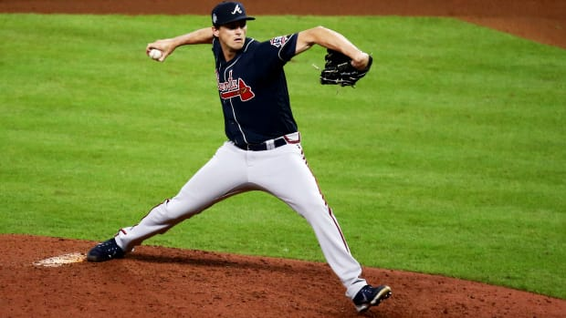 Oct 27, 2021; Houston, TX, USA;  Atlanta Braves pitcher Kyle Wright (30) throws a pitch against the Houston Astros during the eighth inning in game two of the 2021 World Series at Minute Maid Park.