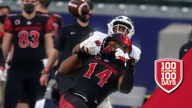 Dec 5, 2020; Carson, California, USA; San Diego State Aztecs safety Tariq Thompson (14 breaks up a pass intended for Colorado State Rams wide receiver Dante Wright (22) in the second quarter at Dignity Health Sports Park. Mandatory Credit: Kirby Lee-USA TODAY Sports