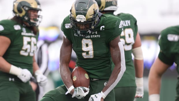 Colorado State Rams wide receiver Warren Jackson (9) celebrates his touchdown reception in the second quarter against the Boise State Broncos at Sonny Lubick Field at Canvas Stadium.