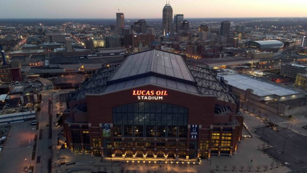 Mar 21, 2021; Indianapolis, Indiana, USA; A general aerial of Lucas Oil Stadium and downtown skyline. The stadium is the home of the Indianapolis Colts and the site of the 2021 NCAA Final Four. Mandatory Credit: Kirby Lee-USA TODAY Sports