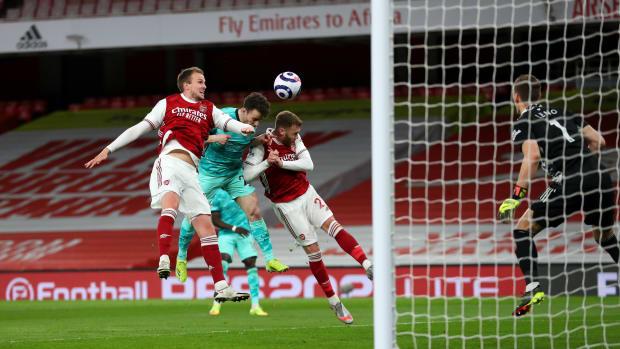 Diogo Jota scores against Arsenal